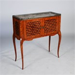 A late 19th century French kingwood, parquetry and gilt metal mounted writing cabinet, the grey