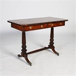 A 19th century rosewood centre table, the rounded rectangular top above two frieze drawers backed by