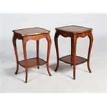 A pair of early 20th century parquetry and gilt metal mounted Louis XV style occasional tables,