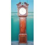 A George III mahogany longcase clock, Wirksworth, Winstanley, the silvered circular dial with Arabic