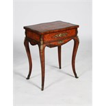 A late 19th century French kingwood, marquetry and ormolu mounted work table, the rectangular top