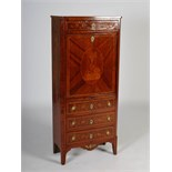 A 19th century Continental kingwood and marquetry inlaid secretaire a abattant, the rectangular