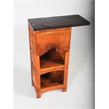 Tim Stead (1952-2000) - A burr elm kitchen cabinet of asymmetric form, the rectangular polished