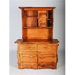 Tim Stead (1952-2000) - A burr elm dresser, the upper section with four open shelves and single