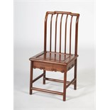 A Chinese burr wood and dark wood child's chair, the rectangular shaped back with five vertical