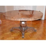A 19th century mahogany snap top supper table, the hinged circular top raised on an octagonal