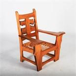Tim Stead (1952-2000) - A burr elm Vertebrate armchair, with strung seat, 103.5cm wide x 105cm