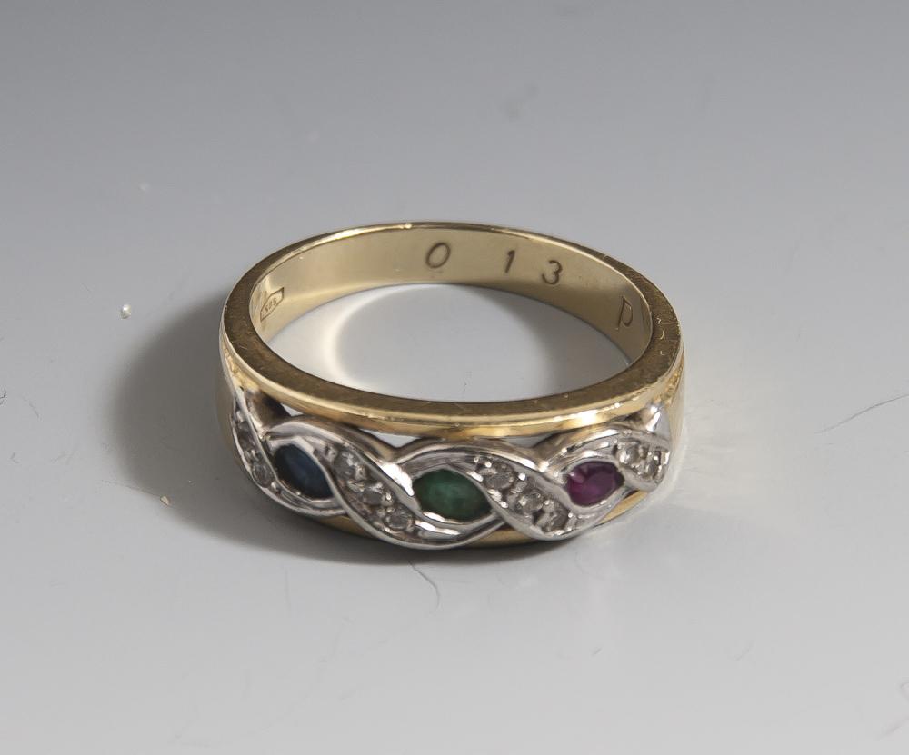 Damenring, Gelbgold/Weißgold 585, ausgefasst mit 1 Rubin, 1 Smaragd, 1 Saphir sowie 10Diamanten, ca.