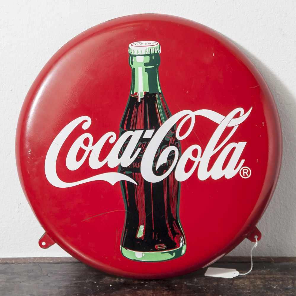 """Rundes Werbeschild """"Coca Cola"""", wohl 50/60er Jahre, Blech emailliert. DM ca. 40 cm, min.Abpl.,"""