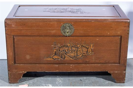 Singapore Carved Camphor Wood Chest Engraved Br Lock