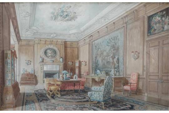 schilderij, Engels genrestuk aquarel, 43 x 66, Engels 19e eeuws ...