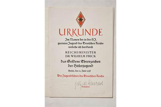 DEUTSCHES REICH 1933 - 1945 - GOLDENES HJ-EHRENZEICHEN MIT ...