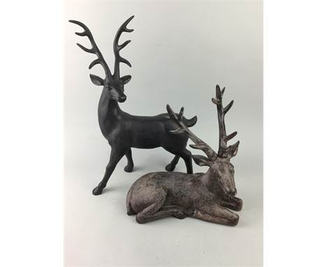 TWO RESIN STAG FIGURES, along with two sets of place markers, glass decanter and stopper, glass carafe, watch and pendant, th