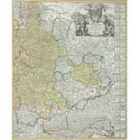 HOMANN, Johann Baptist1664-1724Ducatus WurtenbergiciKupferstich, koloriert, 58 x 48 cm, gerahmt