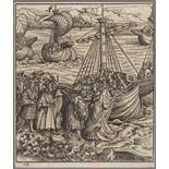 DEUTSCHER MEISTER16. Jh.Die Heilige Ursula trifft den König von Anglia und seinen SohnHolzschnitt,