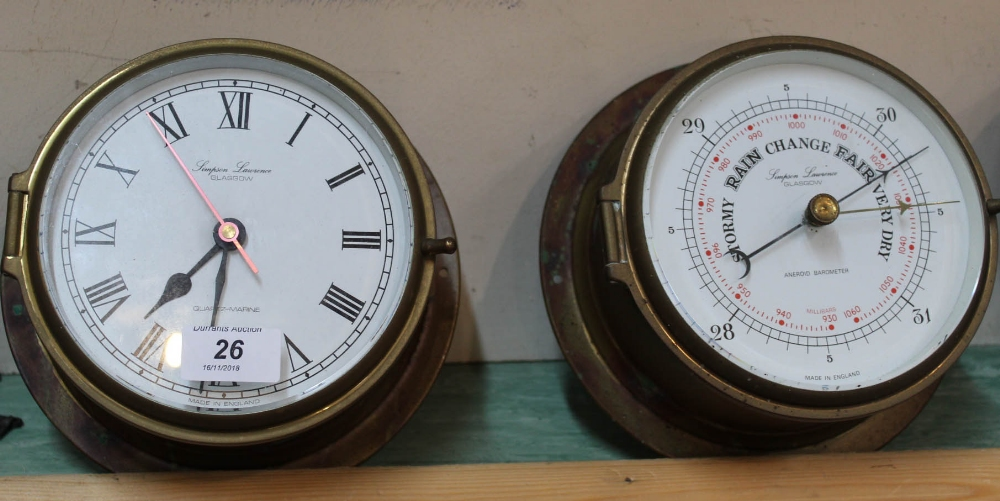 Lot 26 - A quartz brass ships clock and barometer by Simpson Lawrence,