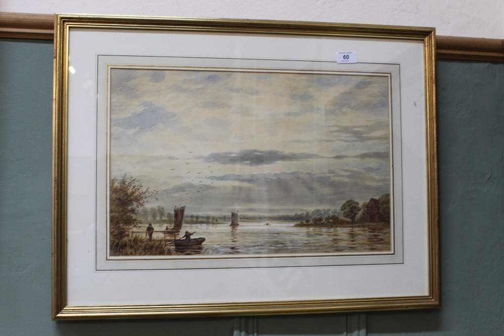 Lot 60 - George Parsons Norman 1873 watercolour of a lake scene with figures and boats,