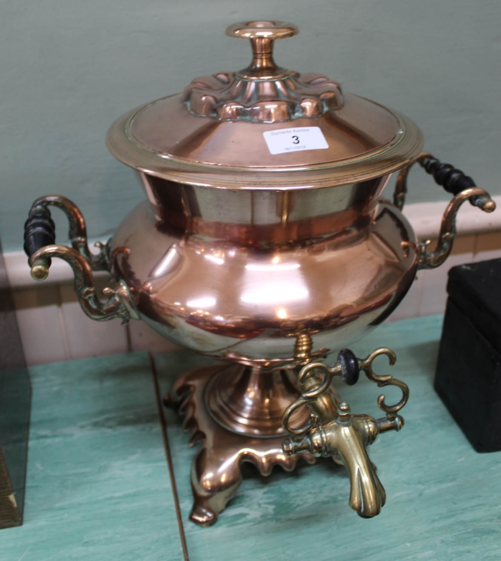 Lot 3 - A Regency twin handled copper samovar with baluster body, brass tap,