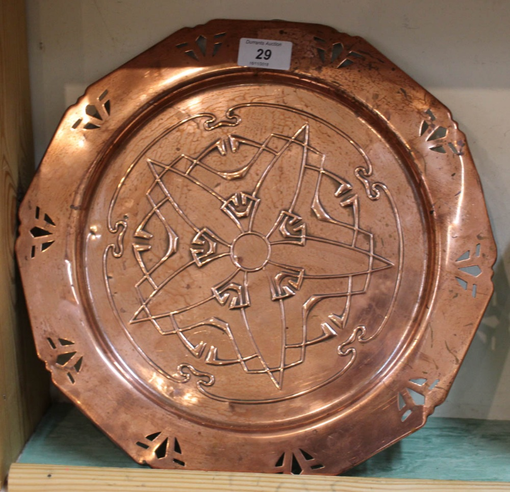 Lot 29 - An Arts and Crafts copper pierced edge plate