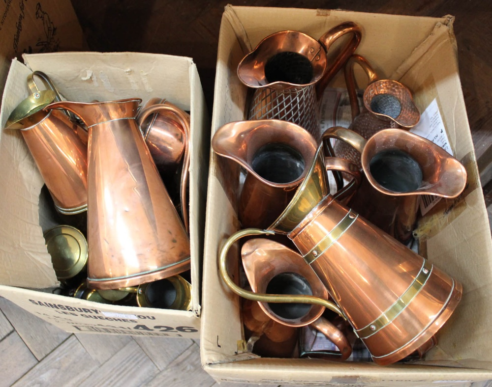 Lot 44 - Copper jugs plus other copper and brass ware (two boxes)