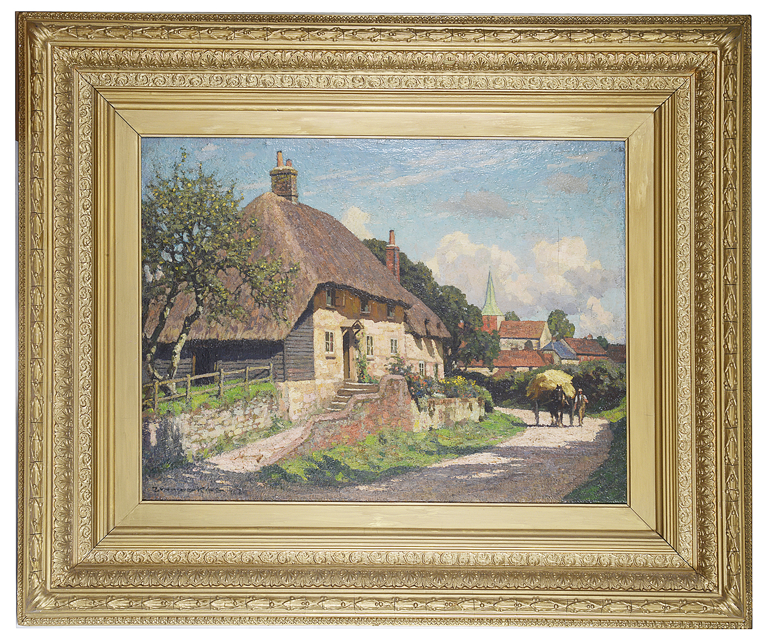 Lot 44 - William G King (Brit., 1859-1940) 'Harting, Petersfield' oil on canvas