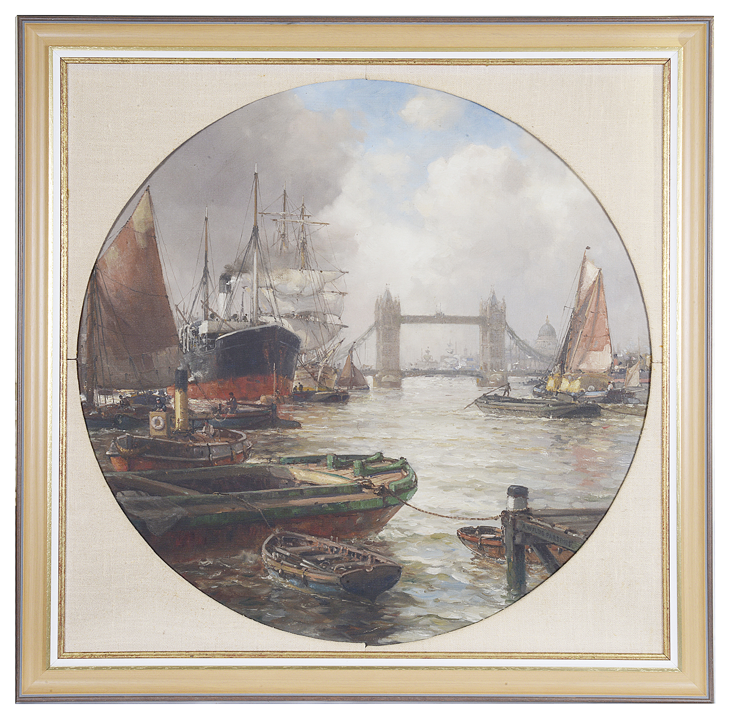 Lot 46 - Arthur Wilde Parsons (Brit., 1854 - 1931) 'Tower Bridge' oil on canvas