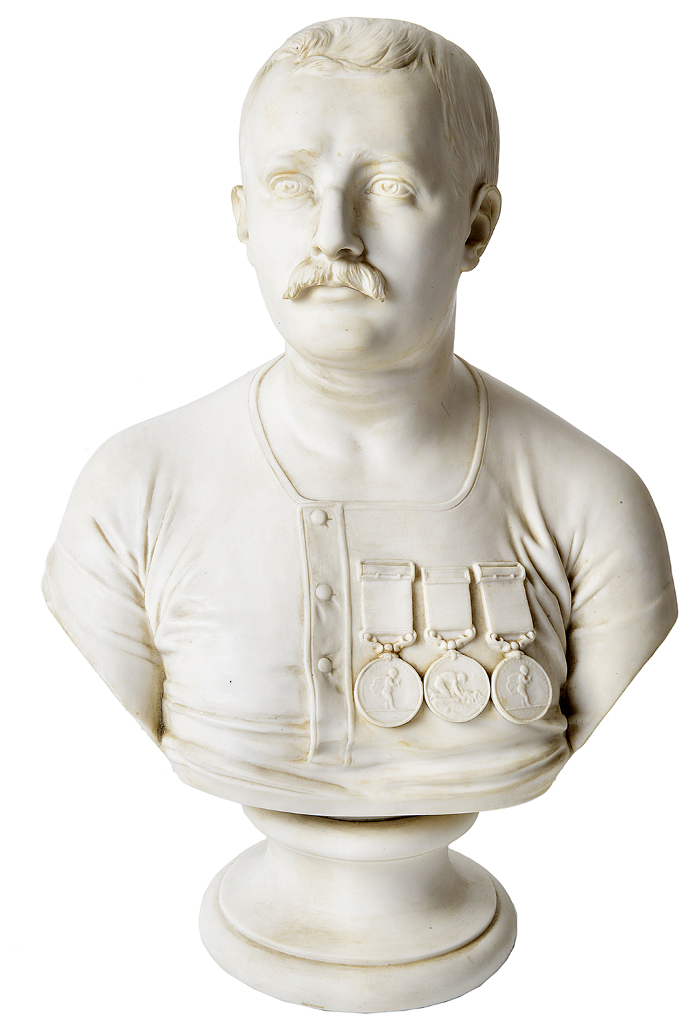 Lot 56 - A Staffordshire parian bust of Captain Matthew Webb, c1875,