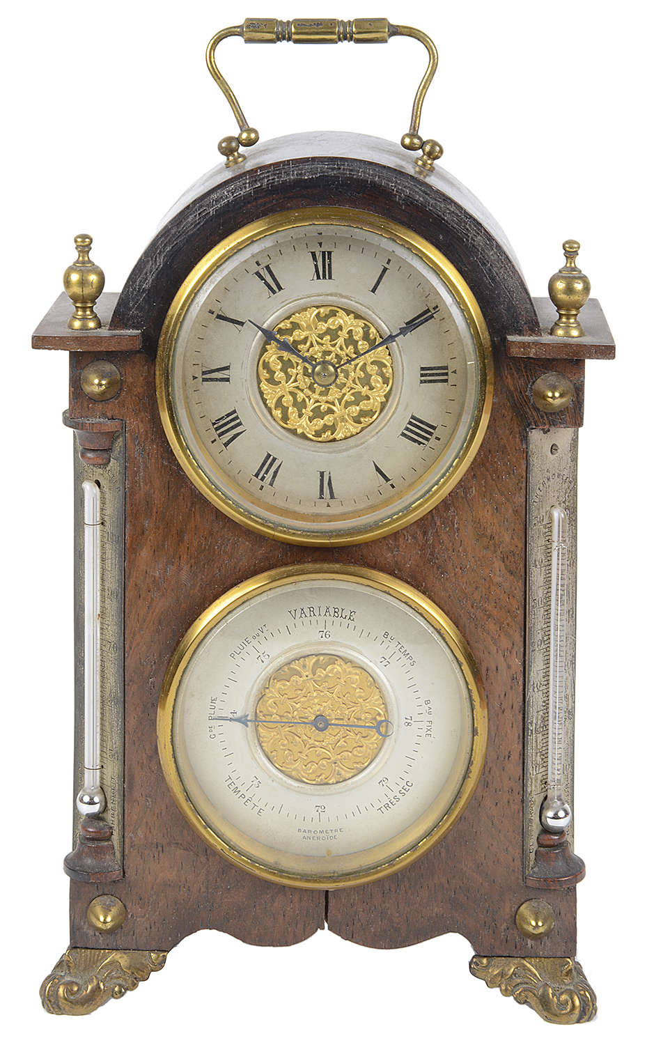 Lot 33 - A rosewood cased dual mantle clock and barometer