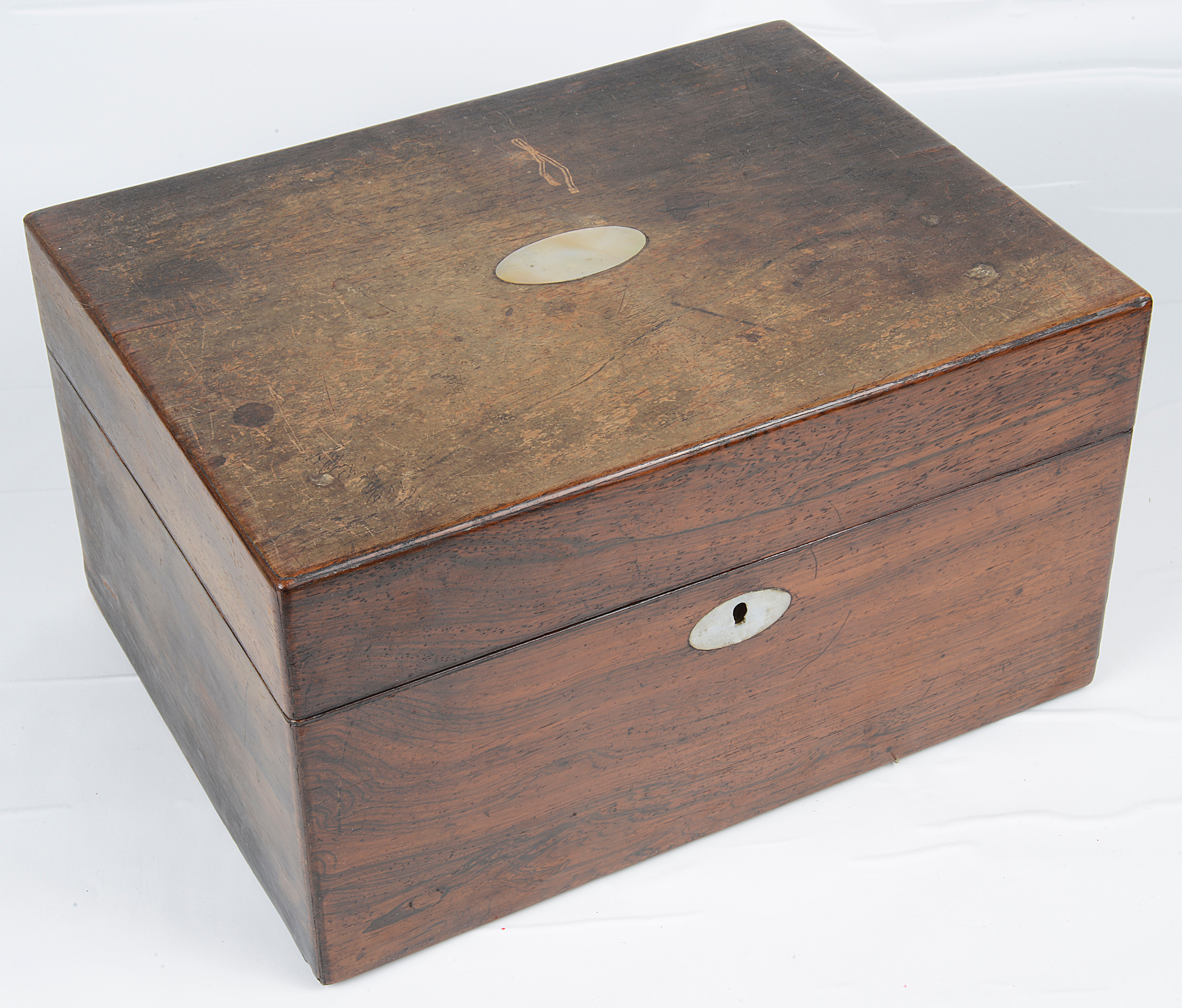 Lot 17 - A Victorian rosewood dressing table box,