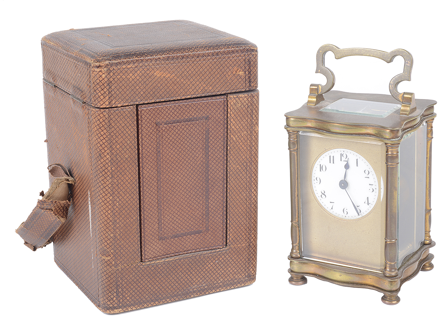 Lot 36 - A late 19th century brass carriage clock