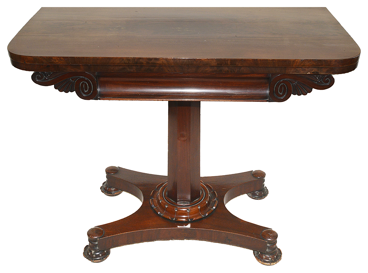 Lot 1 - A Victorian mahogany fold over card table