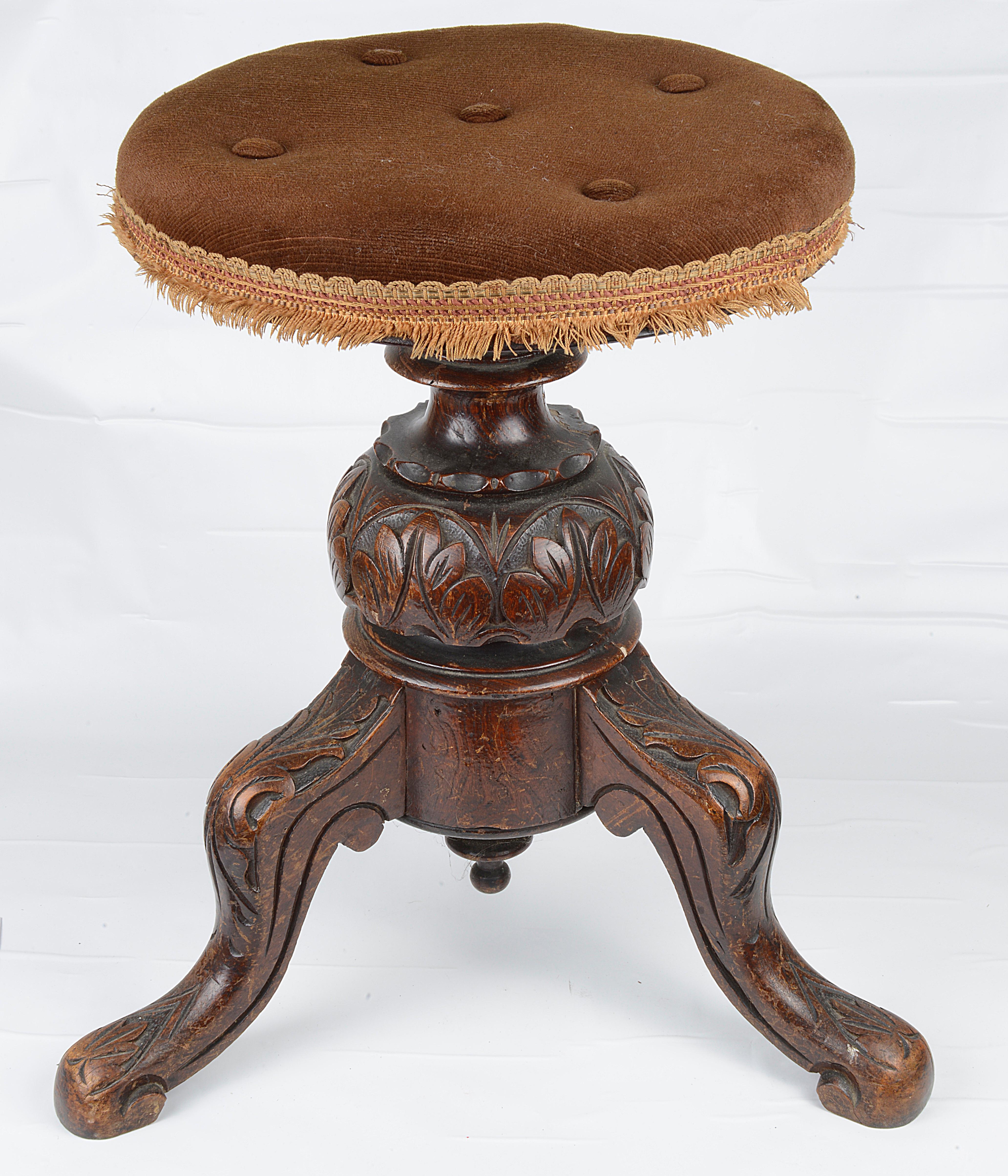 A Victorian mahogany swivel top piano stool - Image 2 of 2