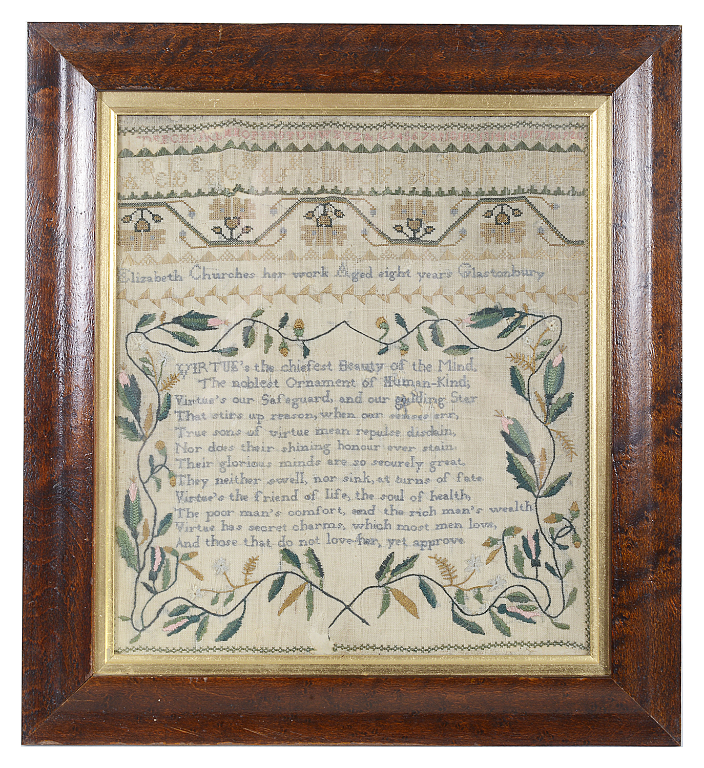 Lot 15 - A needlework sampler by Sarah Leaper, February 26th 1771