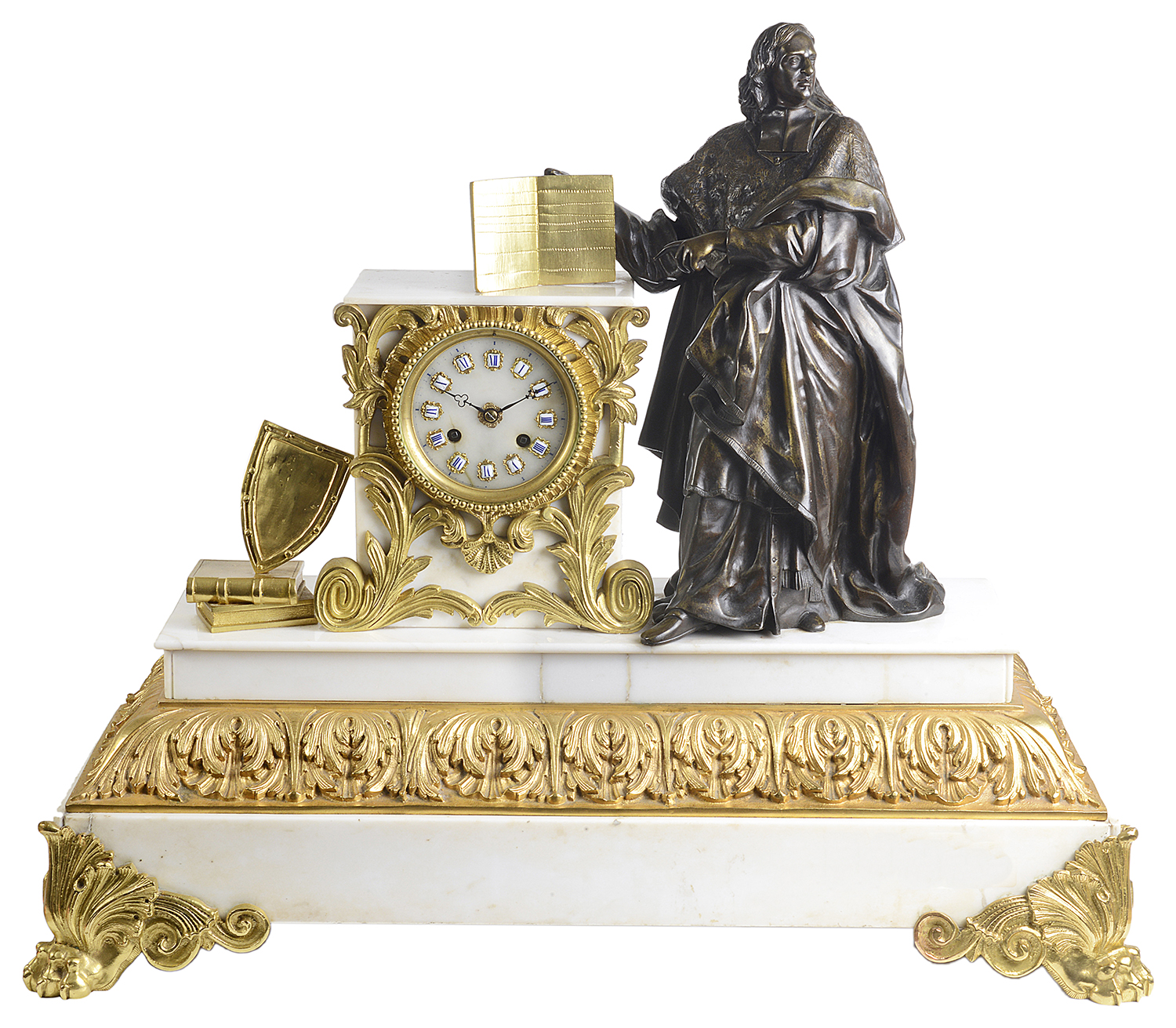 Lot 35 - A large 19th century French marble and bronze figural mantle clock