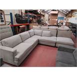 Light Grey fabric costco corner sofa and foot stool with button detail, looks in good condition,