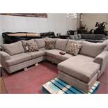 Beige Costco corner sofa with chaise built on, in good condition but has a couple of dirt marks