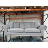 2 Seater costco grey fabric button back sofa, no feet, the seat cushions are a bit bobbly.