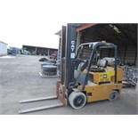 Cat GC25 forklift, 5000 lb cap, 3 stage mast, solid tires, LP, sideshift, sells with LP tank