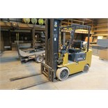 Cat T80D forklift, 8000 lb cap, 3 stage mast, solid tired, LP, sells with LP tank