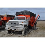 1993 Ford single axle truck, gas V-8, 5+2 trans, air brake, gravity box bed, hyd drive auger,