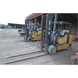 Yale forklift, 4500 lb cap, 3 stage mast, solid tires, LP, 7' forks, sells with LP tank