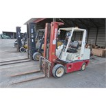 Nissan 80 forklift, 6950 lb cap, 3 stage mast, solid tire, LP, sideshift, 2 speed, sells with LP