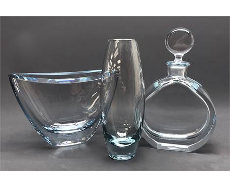 Strombergshyttan circular decanter with disc stopper no. e209 and boat shaped vase no. 7388 and 1960s Holmegaard ovoid glass