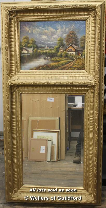 Lot 7293 - A 20th Century trumeau mirror, the painted panel depicting a rural village by a lake, bevelled