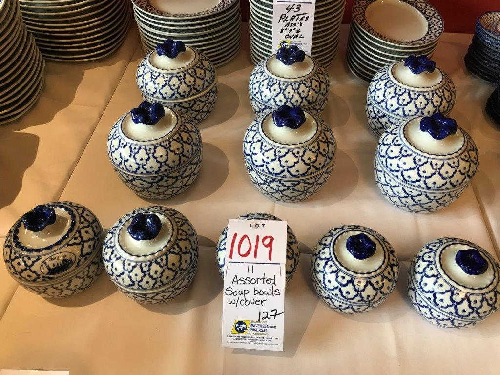 Lot 1019 - Assorted soup bowls w/cover