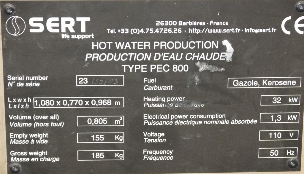 Lot 39 - Sert kerosene water heater type PEC 800 (as spares)