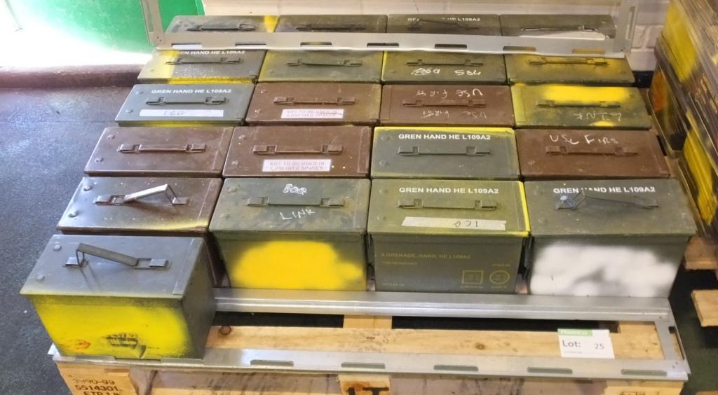 Lot 25 - 21x HE L109A2 ammo tins