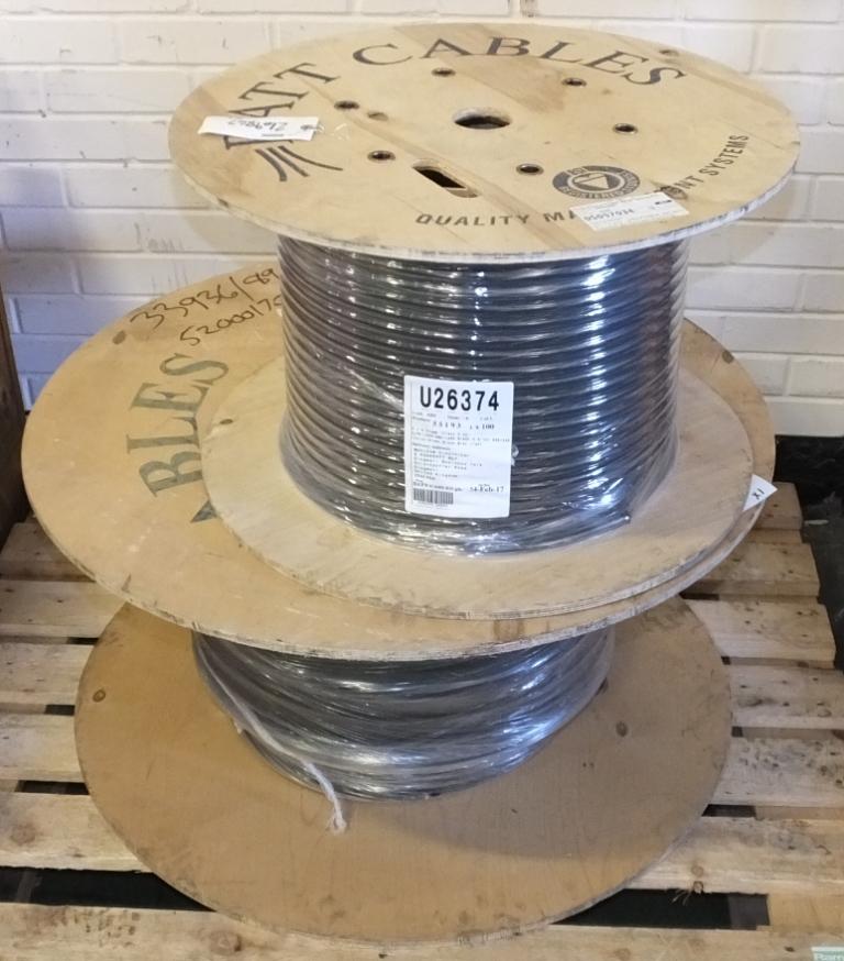 Lot 16 - 2x Batt Cable reels - 1x 4 core 4mm XLPE/LSF/SWA/LSF black 100M, 1x 50mm 4 core LSF/SWA