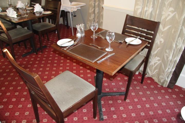 V dining room square dark wood restaurant table two