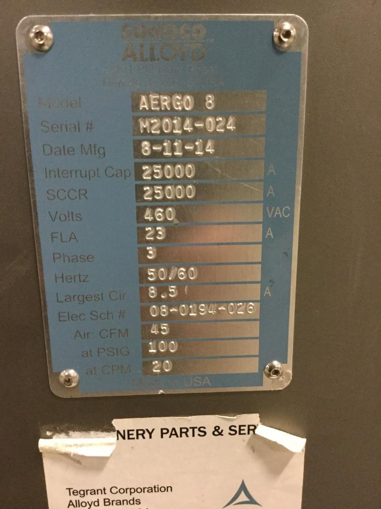 Lot 95 - Alloyd Aergo 8 Heat Seal Automatic Rotary Sealing Machine